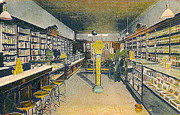 Drug Stores Prints - Drug Store Interior In Santa Fe N M In 1910 Print by Dwight Goss