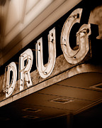 Neon Signs Photos - Drug Store Sign - Vintage Downtown Pharmacy by Steven Milner