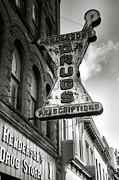 Monotone Prints - Drug Store Sign Print by Steven Ainsworth