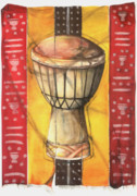 African Cloth Posters - Drum Poster by Anthony Burks