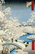 Snow Scenes Prints - Drum bridge and Setting Sun Hill at Meguro Print by Hiroshige