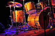 Cymbal Framed Prints - Drum kit illuminated on stage Framed Print by Sami Sarkis