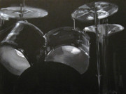 Black And White Drum Posters - Drum Painting Poster by Marcia Masino