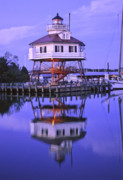 Maryland Coast Posters - Drum Point Lighthouse Poster by Nancy Hoyt Belcher