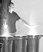Drummers Posters - Drummer in black and white Poster by Becky Lodes