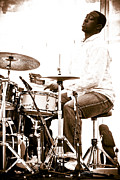 Microphones Prints - Drummer Larnell Lewis at Sunfest Print by Gordon Wood