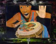 Haiti Drawings - Drumming by Gilbert Augustin