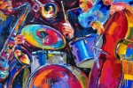 Jazz  Abstract Paintings - Drums And Friends by Debra Hurd