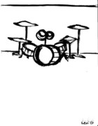 Live Music Drawings - Drumset by Levi Glassrock