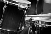 Drums Prints - Drumsticks and Drums in Black and White Print by Rebecca Brittain