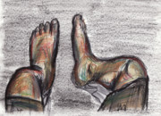 Drunk Drawings Prints - Drunk Feet Print by Hugo Diaz