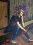 Drunk Paintings - Drunk on Sidewalk by Suzanne  Marie Leclair