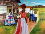 Gullah Art Posters - Drunkards Path Poster by Diane Britton Dunham