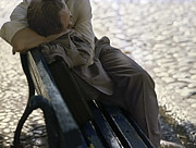 Man On Bench Prints - Drunken man sleeping on a blue bench Print by Juan Carlos Ferro Duque