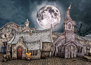 Storybook Digital Art Prints - Drunken Village Print by Jutta Maria Pusl