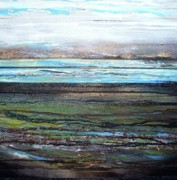 Coal Mixed Media Prints - Druridge bay low tide Coaldust seaweed and driftwood No1 Print by Mike   Bell