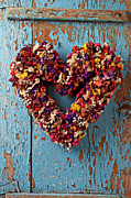 Hearts Prints - Dry flower wreath on blue door Print by Garry Gay