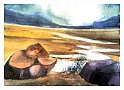Watercolor Digital Art Originals - Dry Lake by Anil Nene
