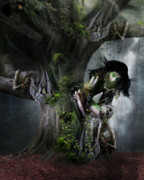 Tree Bark Posters - Dryads Dance Poster by Karen Koski