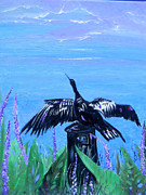 Bayous Painting Prints - Drying Feathers Print by Christy Usilton