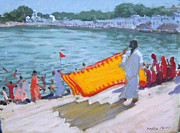 Lake Scene Paintings - Drying Sari Pushkar  by Andrew Macara