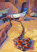 Docked Boat Painting Prints - Drying The Nets Print by Marion Rose