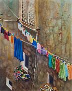 Drying Laundry Posters - Drying Time Poster by Karen Fleschler