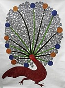 Gond Tribal Art Painting Originals - DS 436 Peacock by Dilip Shyam