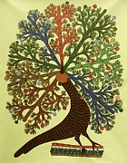 Gond Tribal Art Painting Originals - Ds 439  Peacock by Dilip Shyam