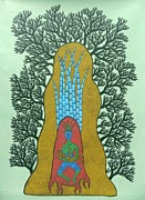 Indian Tribal Art Paintings - Dsu 52 by Dhavat Singh Uikey