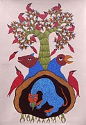 Indian Tribal Art Paintings - Dsu 55 by Dhavat Singh Uikey
