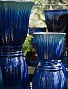 Azure Prints - Dual Blue Fluted Pots Print by Teresa Mucha