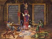 Cloth Paintings - Dual Wizards Duel by Jeff Brimley