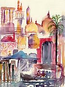 Waterside Paintings - Dubai Creekside by Beena Samuel