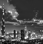 Light And Dark   Prints - Dubai downtown at night black and white picture Print by Anna Omelchenko
