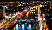 Halfpenny Prints - dublin city Lights Print by Ernie Watchorn