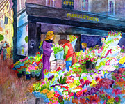 Dublin Painting Originals - Dublin Flower Market by Jeneane Mixon