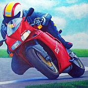Racer Painting Framed Prints - Ducati 916 Framed Print by Brian  Commerford