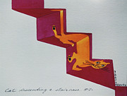 Pictures Of Cats Framed Prints - Duchamps Cat Descending a Staircase  No. 2 Framed Print by Eve Riser Roberts