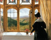 Edwin Posters - Duchess of Abercorn looking out of a window Poster by Sir Edwin Landseer
