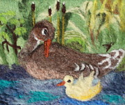 Grass Tapestries - Textiles Metal Prints - Duck and Duckling Metal Print by Nicole Besack