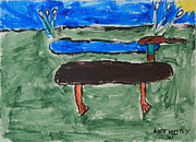 Phong Trinh Metal Prints - Duck and Pond by the Sea Metal Print by Anthony White