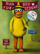 Vote Posters - Duck Boy For President Poster by Leah Saulnier The Painting Maniac