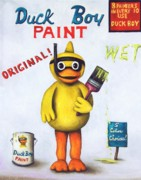 Humor. Paintings - Duck Boy Paint by Leah Saulnier The Painting Maniac