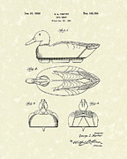 Hunting Drawings Prints - Duck Decoy 1952 Patent Art Print by Prior Art Design