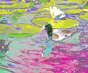 Waterlily Poster Posters - Duck in Waterlily Pond Poster by Nabila Khanam