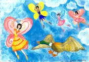 Sue Burgess Paintings - Duck meets fairy ballet class by Sushila Burgess