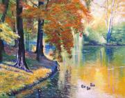 Lakeside Paintings - Duck Pond by David Lloyd Glover