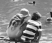 Ann Johndro-collins Prints - Duck Pond Siblings Print by Ann Johndro-Collins