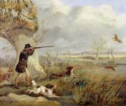 Spaniel Paintings - Duck Shooting  by Henry Thomas Alken